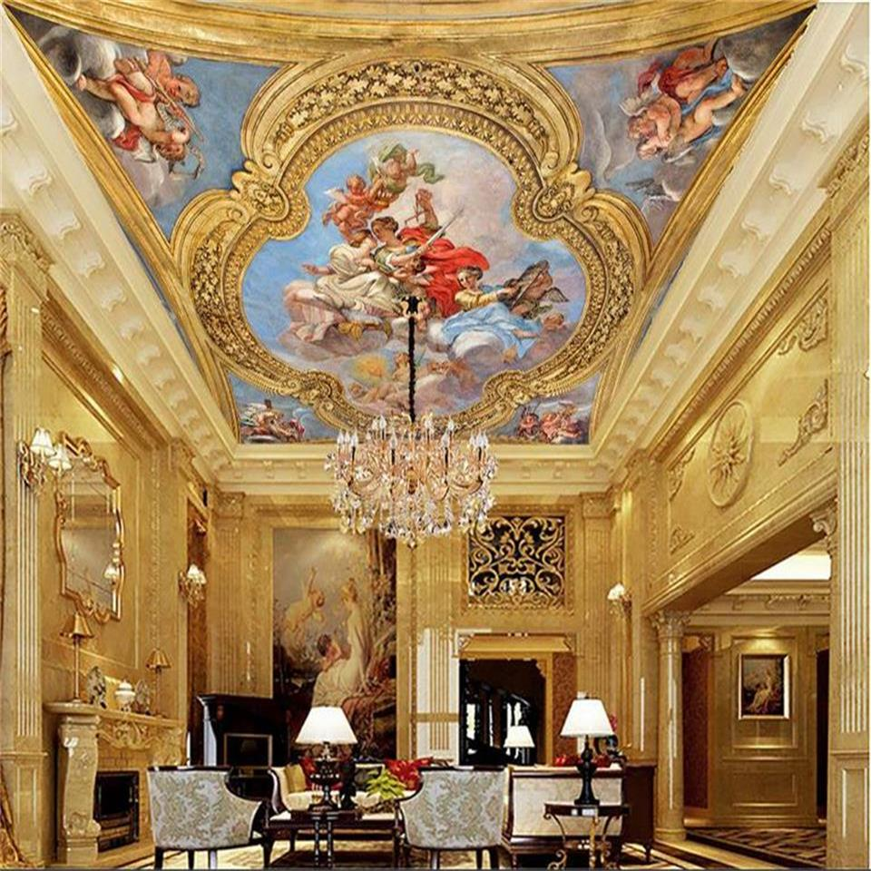 3D wallpaper custom size photo living room hang ceiling mural European style Royal 3d painting non-woven wallpaper for wall 3d ceiling non woven wallpapr home decoration wallpapers for living room 3d mural wallpaper ceiling customize size