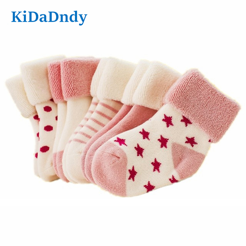 KiDaDndy 0-3 year-old newborn baby socks 5 pairs of bags sold cotton baby socks thickened warm children's socks LCH106