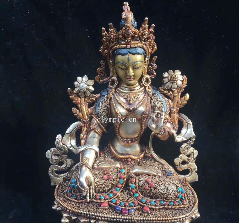9''Nepal silver Gold inlay gemstone red coral Turquoise buddhism White Tara|tara| |  - title=