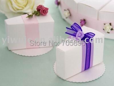 Free Shipping 100pcs Wedding Cake Box White Color Por Design Favor