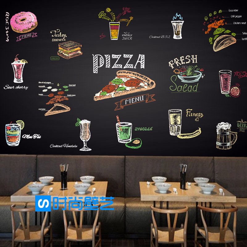 Custom 3d mural wallpaper 3D personality dining pizza fast food restaurant burger leisure bar milk tea shop wallpaper mural custom size photo 3d wood blackboard graffiti wallpaper pizza shop snack bar restaurant burgers store wallpaper mural