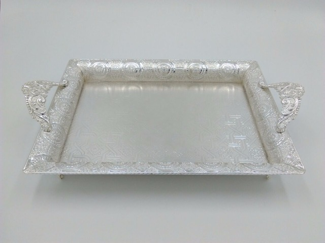 43 27cm Rectangle Metal Silver Plated Serving Tray For Cake Pastry Desserts Cups Dish