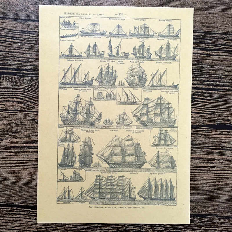Free ship Vintage Ancient sailing Poster Wall Sticker Retro Art Crafts Kraft Paper Paint Bar Decor Sign 42x30cm