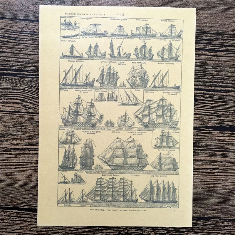 Free Ship Vintage Ancient Sailing Poster Wall Sticker Retro Art Crafts Kraft Paper Paint Bar Decor Sign 42x30cm