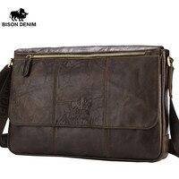 BISON DENIM 2017 Genuine Leather Crossbody Bag Male Shoulder Bag Ipad Bag Travel Vintage Brown Messenger