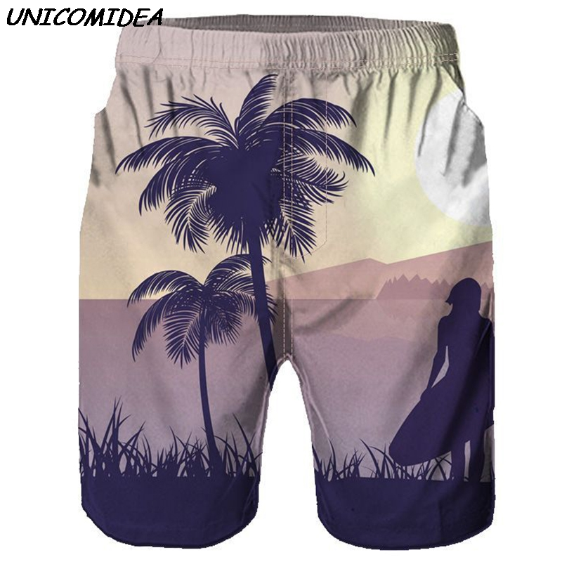 Mens   Board     Shorts   Summer Coconut Trees Swimwear Beach   Shorts   Men Elastic Waist Casual Quick Dry Trousers Homme Fitness   Shorts