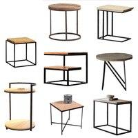 Лофт Винтаж металла деревянный чайный столик кофе для стола, из металла прикроватные диван Несколько Гостиная угловой несколько телефон не