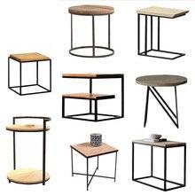 Loft vintage Metal madera mesa de té mesa de centro de hierro mesita de noche sofá varias Esquina de salón varios teléfonos pequeña mesa lateral