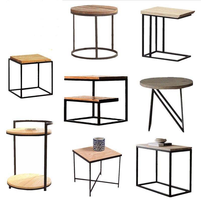 Loft vintage métal bois table à thé table basse fer chevet canapé plusieurs salon coin plusieurs téléphone petite table d'appoint