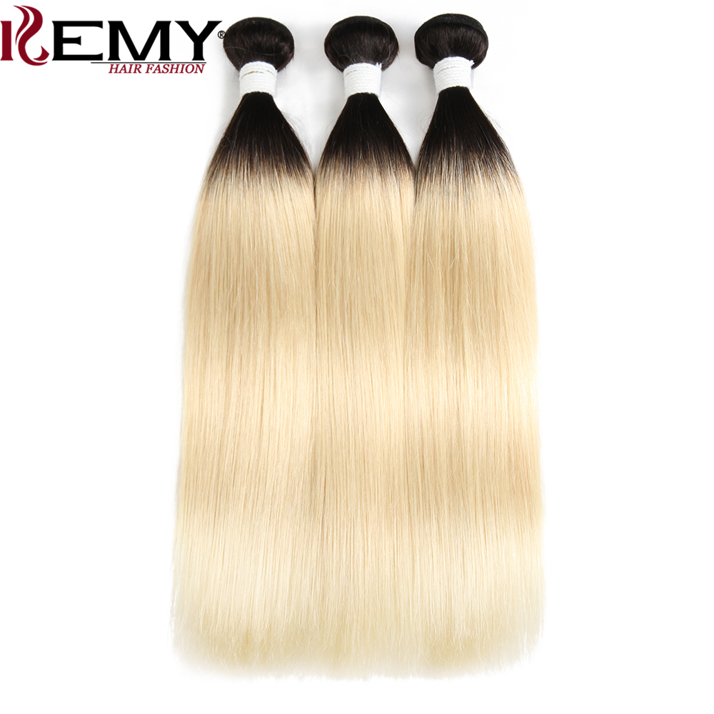 Omber Blonde 1B/613# Brazilian Straight Human Hair Weaves Bundle 2 Or 3 PCS KEMY HAIR 8 To 26 Inch Remy Human Hair Extensions