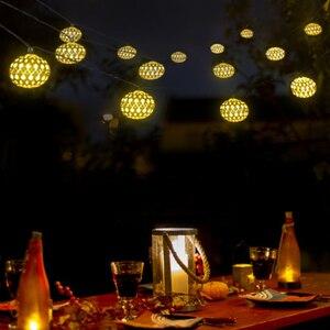 Image 4 - 태양 문자열 조명 10/20 모로코 공 LED 문자열 요정 빛 장식 휴일 크리스마스 조명 야외 웨딩 장식