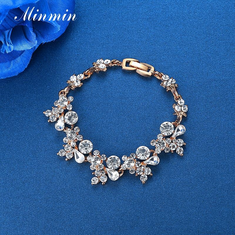 Minmin Floral Bridal Bracelets for Women Wedding Accessories Silver/Gold Color Crystal Bangles Bracelets Gifts for Girl SL079