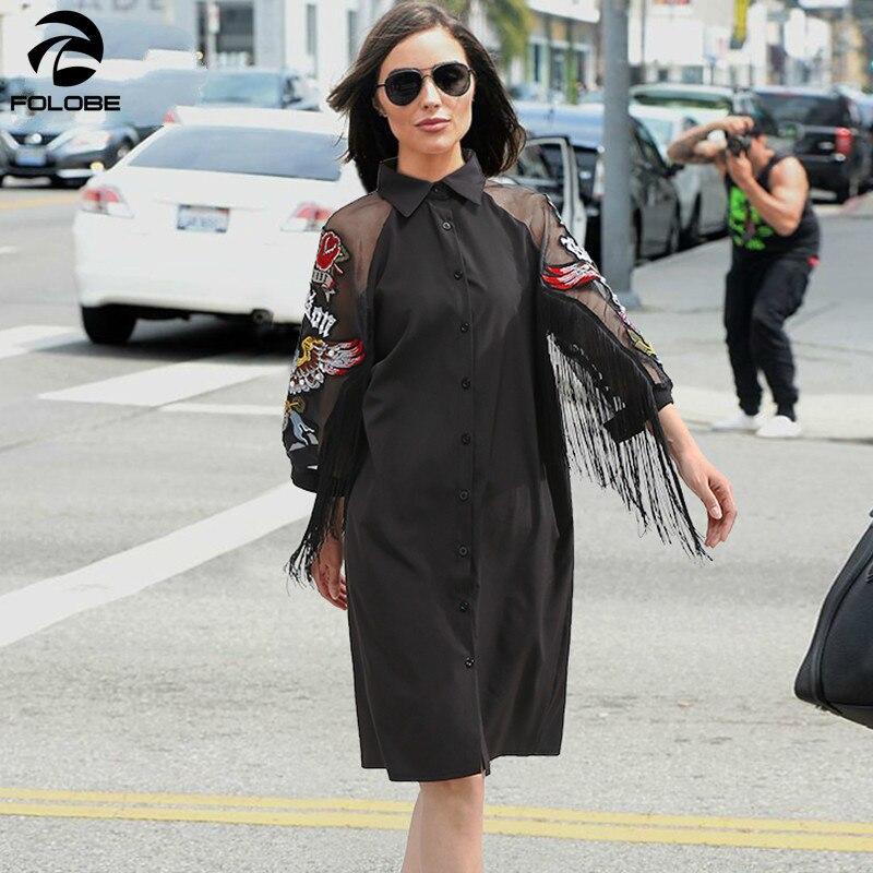 FOLOBE 2019 femmes chemise noire robe 3/4 maille à manches avec patchs de broderie et ceintures filles élégant robe de soirée Midi tenue de club