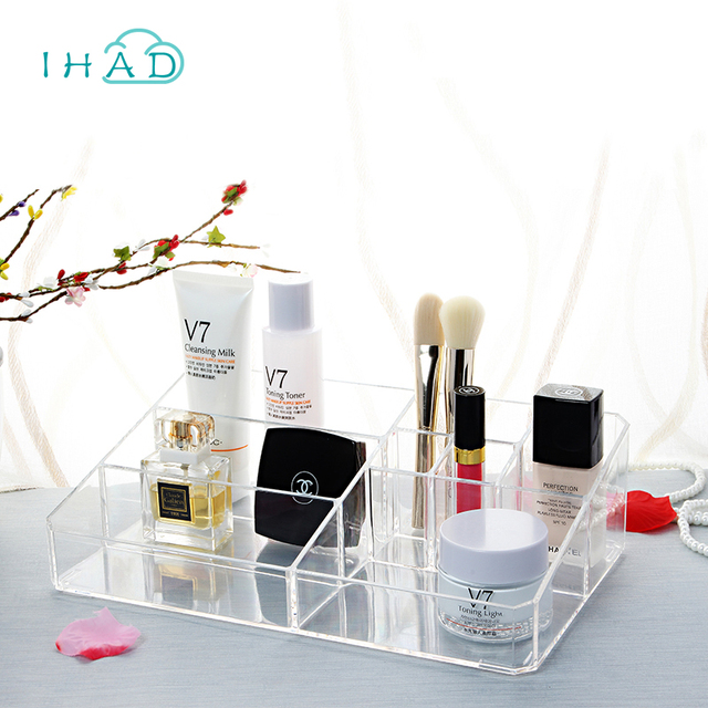 53cc9380a932 Crystal Acrylic Cosmetic Organizer box Cosmetic storage box for woman Makeup  Display Box Stand Rack Holder