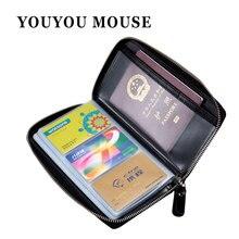 Youyou мышь Высокое качество 60 Слоты Бизнес RFID Card Holder Мужчины и женщины Обложка для паспорта сумка натуральная кожа Обложка для паспорта сумка