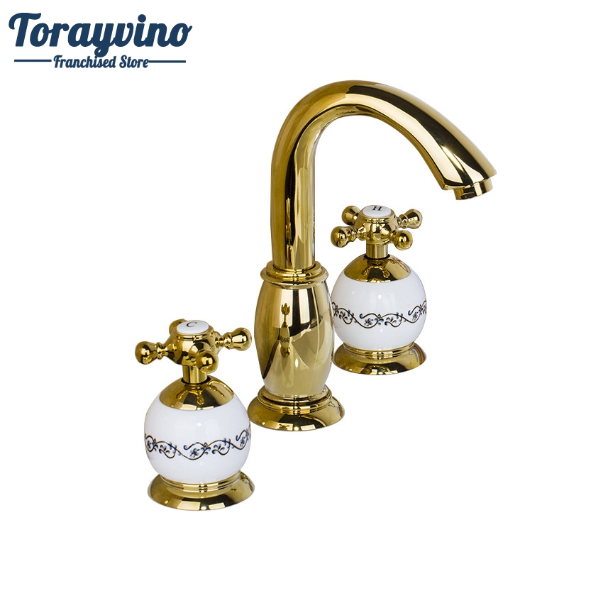 Torayvino Bathroom Basin Ceramic And Golden Faucet Dual Handle Deck Mounted Hot Cold Water Mixer Distinguished  Basin Faucet