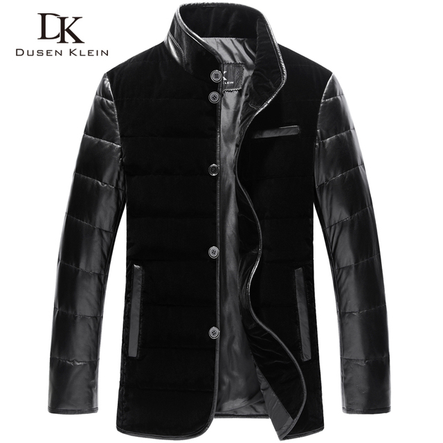 Designer men down coats Genuine sheepskin & luxury velvet down jackets male gold velvet  Brand coats male clothing 14B0075