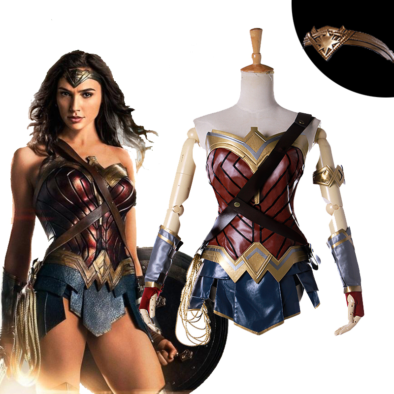 2017 New Movie Wonder Woman Cosplay Costumes Adult Custom Made Princess Diana Dress Full Sets Party