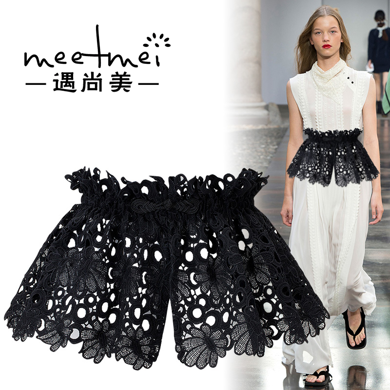 New Cummerbunds Belt Women's  Fashion Lace Half Dress Skirt Waist   Wide Decorative   Shirt  White Black