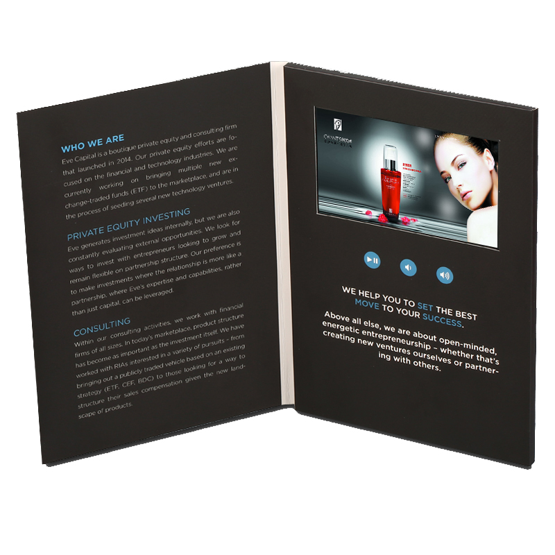Business Gift 43 Screen A5 Paper Lcd Card Video Brochure Greeting