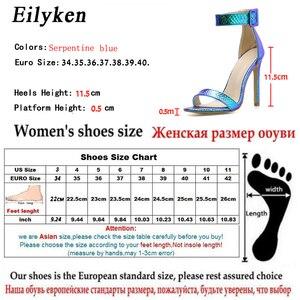 Image 5 - Eilyken Zomer Zilver Blauw Serpentine Peep Toe Hoge Hak Vrouwen Sandalen Sexy Gesp Ankle Wrap Dames Sandalen Club schoenen