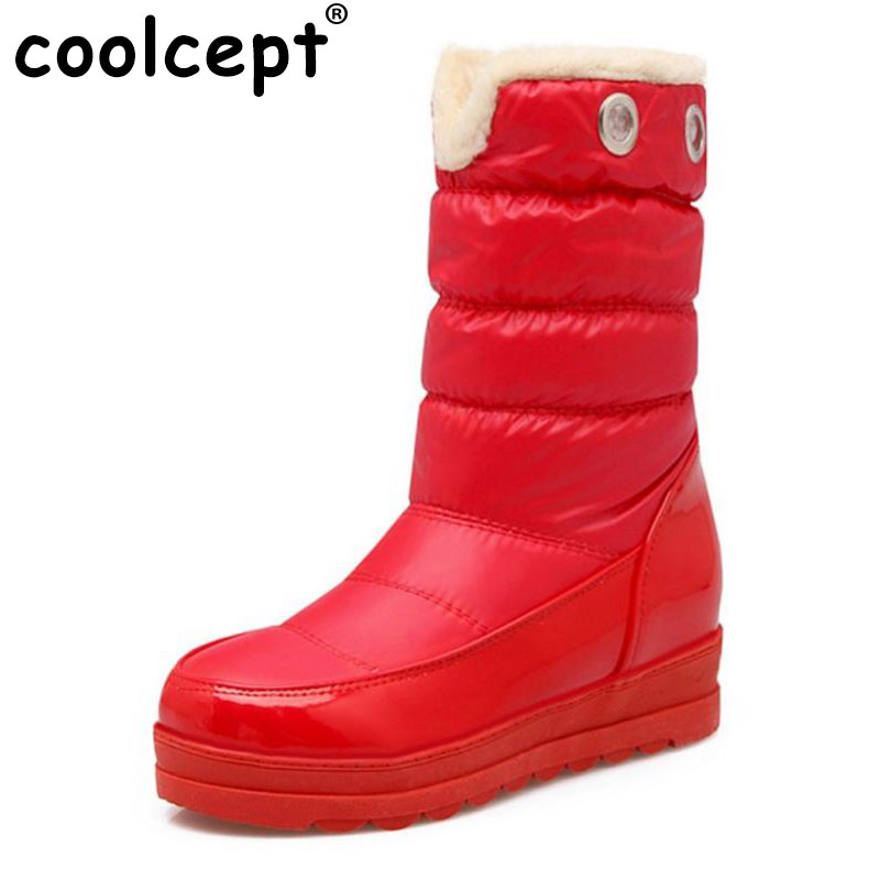 Coolcept Russia Snow Boot Women Plush Inside Boots Warm Winter Botas New Brand Waterproof Round Toe  Woman Fur Shoes Size 34-43 skhek girls boy boots for kid snow botas winter warm plush baby boot waterproof soft bottom non slip leather booties kids shoes