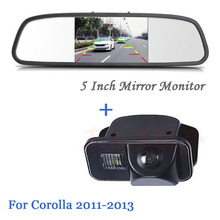 5-Inch HD Rearview Car Mirror Monitor Video Input 800*480 12V with CCD Car Rear View Camera Parking Cam For Toyota/corolla