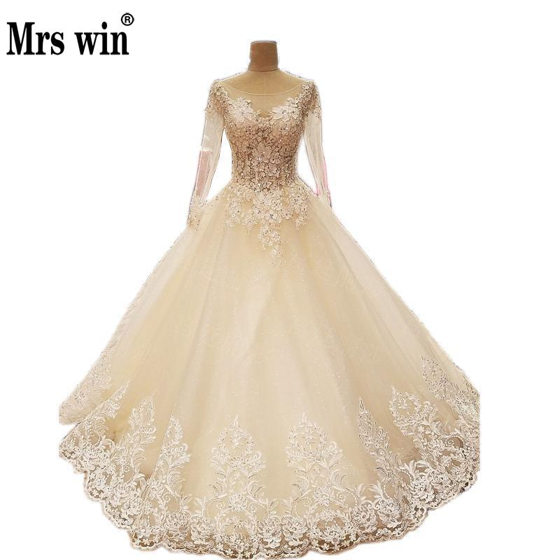 Wedding Dresses 2018 Thhe Bride Vintage Flowers Luxury Caystal Full Sleeve Boat Neck Royal Train Lace Up Princess Ball Gown