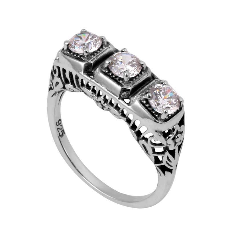 Szjinao การประมวลผลที่กำหนดเองดอกไม้โบราณ cubic zirconia ผู้หญิง 100% 925 แหวนเงินแท้ขายส่ง