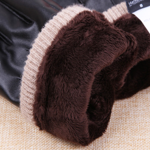 Image 4 - 2019 New Arrival Fall męskie rękawiczki czarne zimowe ciepłe rękawiczki z ekranem dotykowym wiatroszczelne utrzymuj ciepłe męskie rękawiczki ze skóry PU
