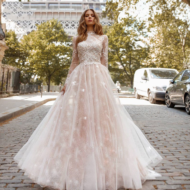 Eightree 2019 High Neck A Line Wedding Dresses Flower Appliques Long Sleeves Sheer Plus Size Bridal Gown