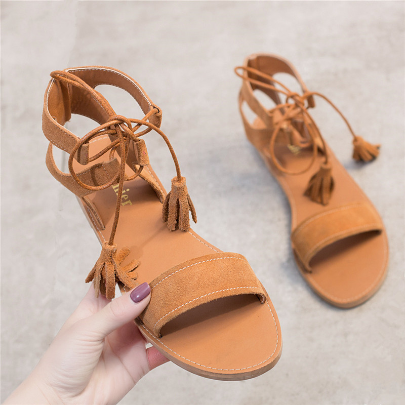Women's Sandals Lace up Ankle Strap Genuine Leather Cow Suede Woman Sandals Peep Toe Womans Summer Flat Beach Shoes Gladiator sandals women genuine leather lace up ankle wrap 2017 summer shoes woman gladiator sandal flat wedding shoes sandalias mujer