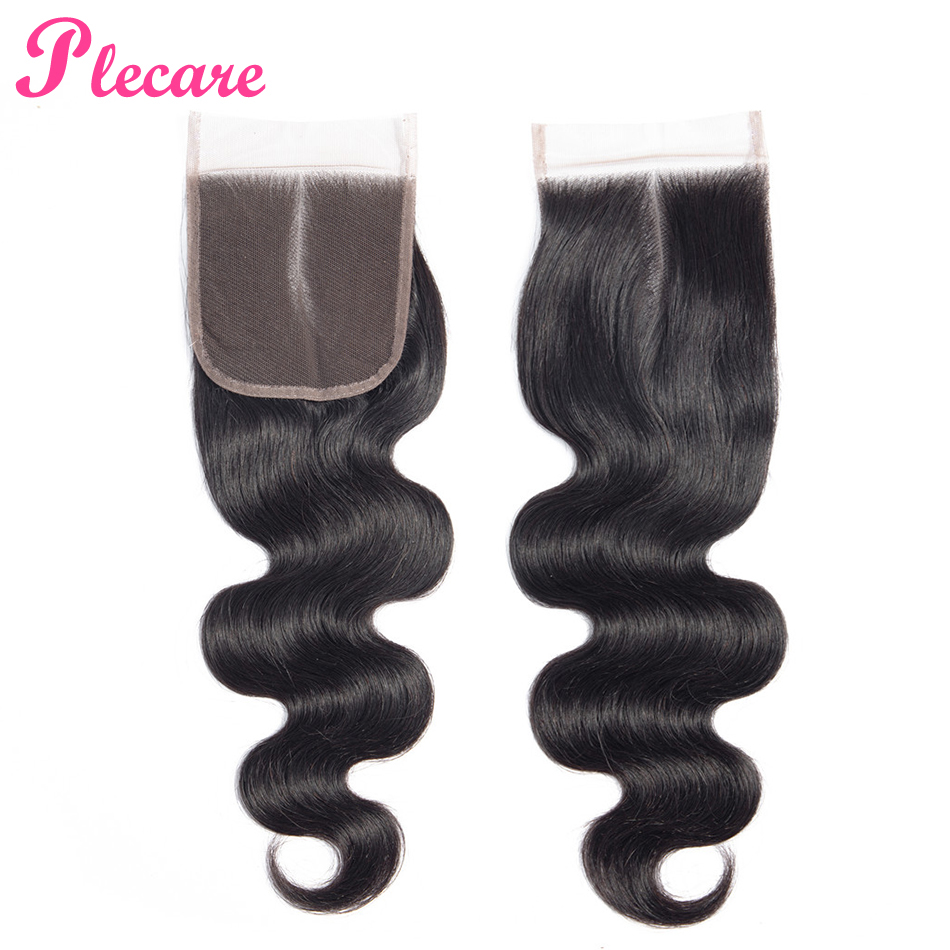 Plecare Brazilian Body Wave 4*4 Lace Frontal Closure 1 Pcs Natural Color 8-20 Inch Non-remy 100% Human Hair Extensions