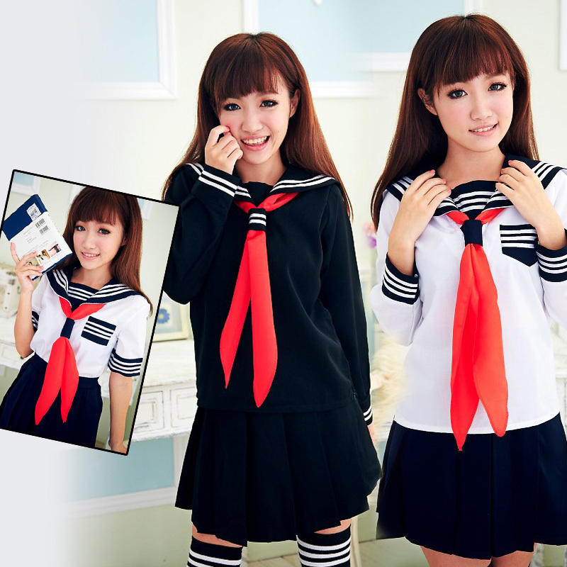 Black / White Top & Skirt Stocking Japanese Japan Sailor School Uniform Anime Hell Girl Lady Lolita Cute Maid Costume Clothing - LCSP Store store
