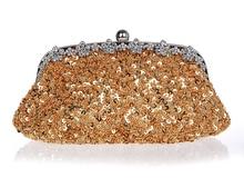 Heißer Verkauf Gold Abendtasche Frauen Perlen Pailletten Bankett Handtasche Kupplung Geburtstagsgeschenk Partei Geldbeutel-verfassungs-beutel Mujer Bolso 03396-5