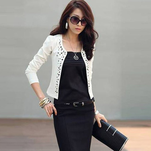 Women Blazers and Jackets 2018 Spring Slim Fit Women Formal Jackets Office Work Open Front Rivet Ladies Blazer Coat