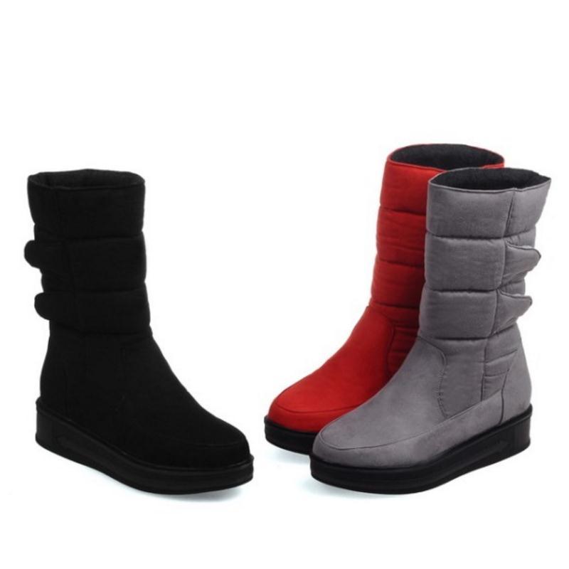 Mujer Nieve Zapatos Botas gris Tamaño Invierno Negro 2016 Mujeres La 30 Moda Las rojo De Ternero Plataforma Para Mediados Impermeables 52 nYS76