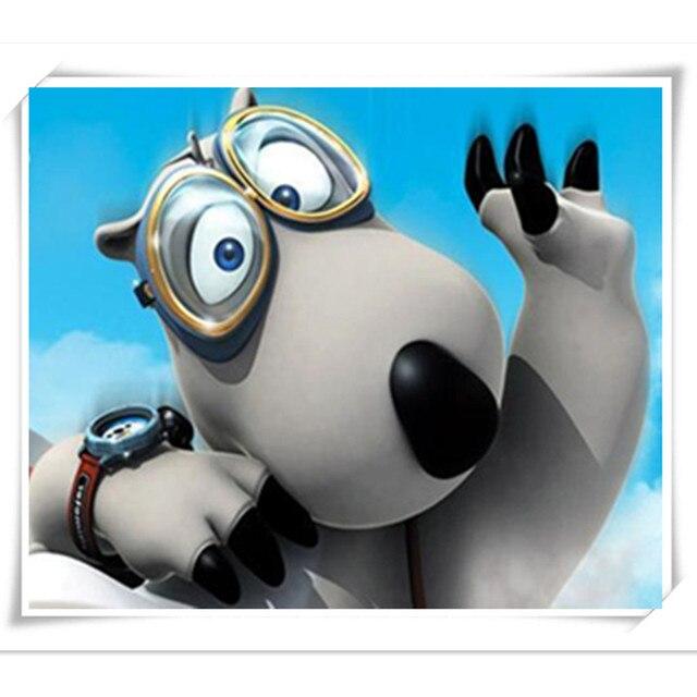 Mignon ours polaire images de dessins animés 30 x 25 cm diamant brodé