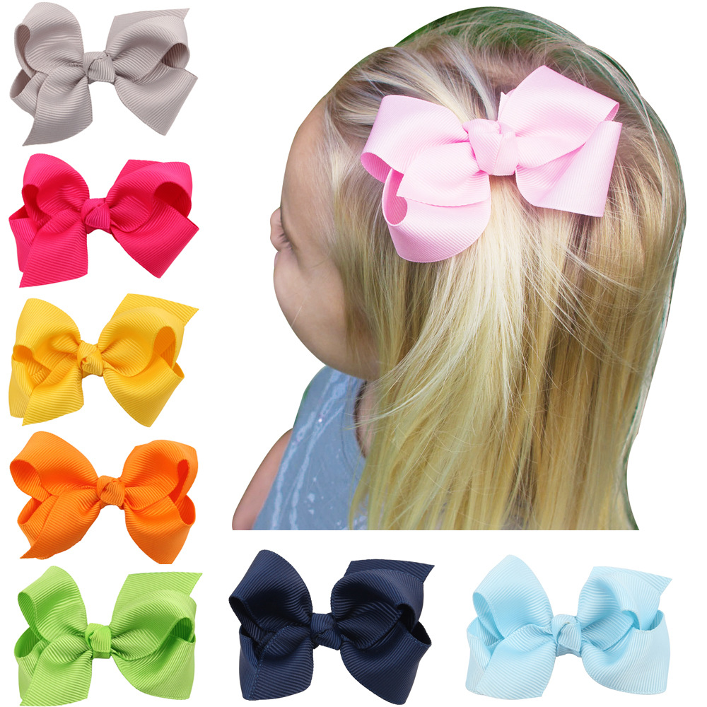 Ha hair bow ribbon wholesale - 1pcs Solid Hair Hand Weaving Bows Christmas Girls 20 Colors Solid Grosgrain Ribbon Hair Bow Kids