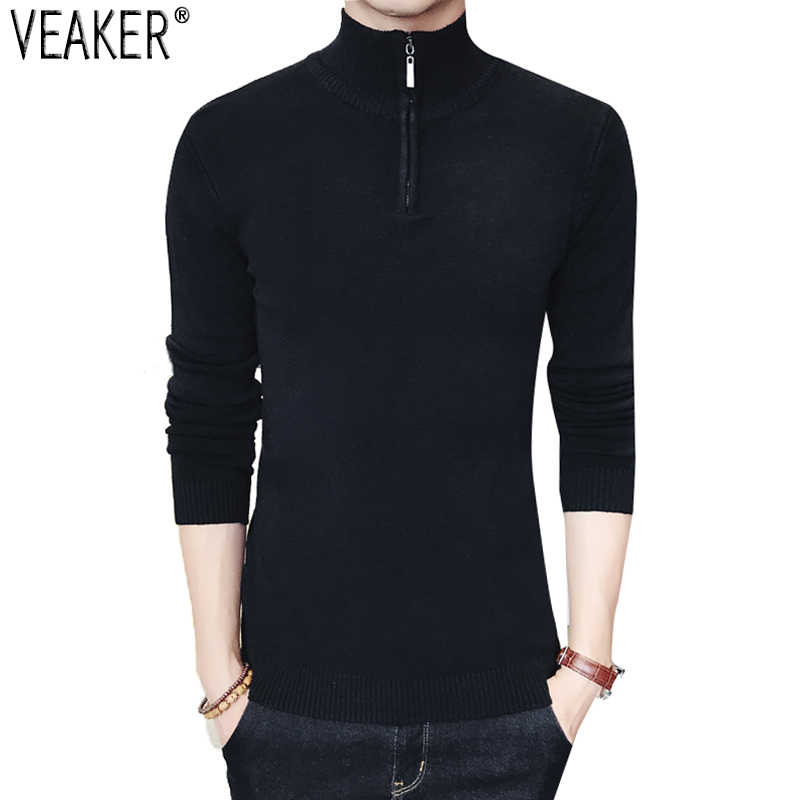 2018 New Men's Zipper Turtleneck Sweaters Pullover Autumn Male Slim Fit High Neck Pullovers Black Gray Men Knitted Sweater 2XL