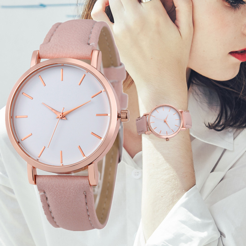 Reloj Mujer Fashion Cute Pink Women Watches Simple Rose Gold Women's Quartz Wrist Watch Leather Ladies Watch Relogio Feminino