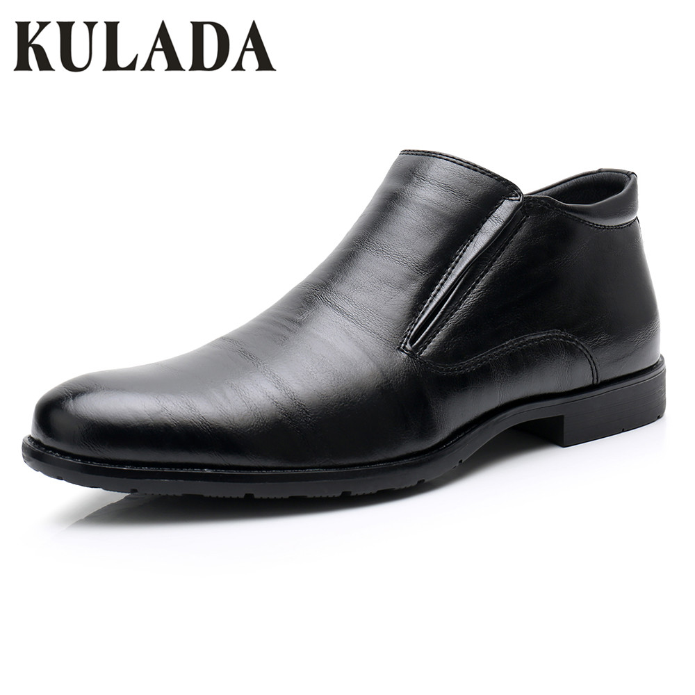 KULADA New Shoes Men's Shoes Leather Business Boots Spring&Autumn  Formal Dress Black Boots Men Short Plush Classic Boots