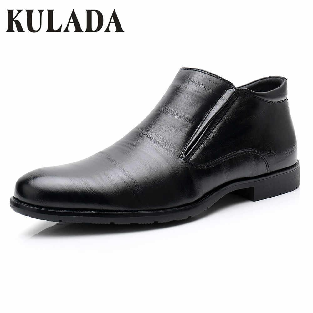KULADA Nieuwe Schoenen mannen Schoenen Lederen Business Laarzen Lente & Herfst Formele Jurk Zwarte Laarzen Mannen Korte Pluche Classic laarzen