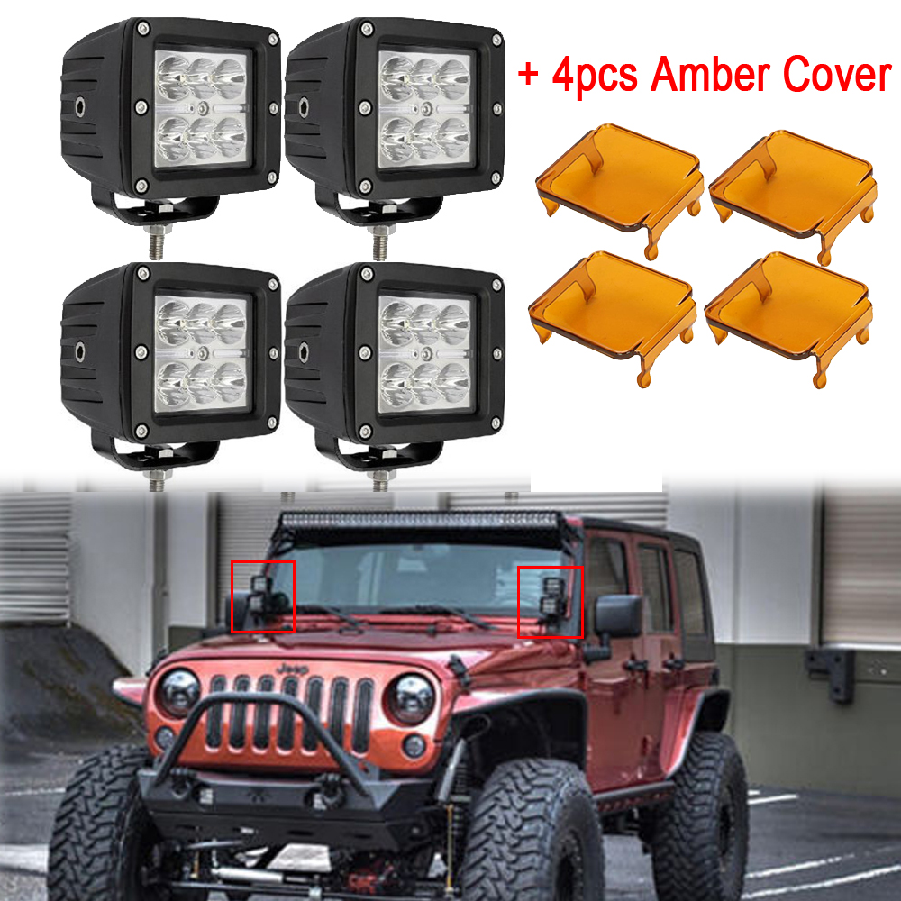 4x 3 18W Driving Work Light 3x3 inch Cube Pods Offroad SUV ATV 4WD 4x4 Spot / Flood + 4pcs Amber Covers For JEEP Truck 4x4 ATV 4pcs 4d lens led work light bar 3x3 cube pods square spot flood beam offroad driving for suv atv 4x4 4wd truck motorcycle boat
