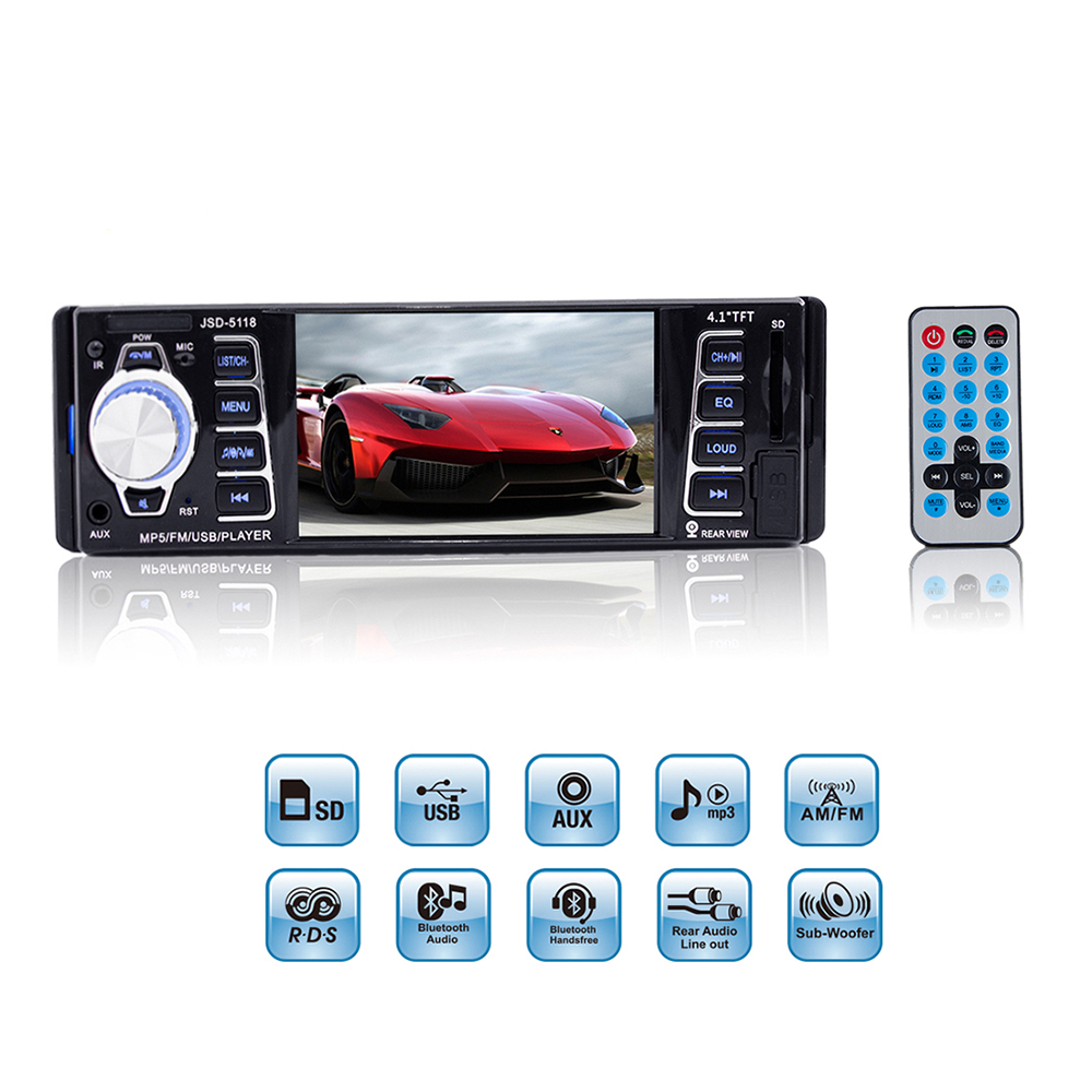 1 Din Car MP5 Player 4 1 HD Screen Display Auto Audio Video FM USB SD