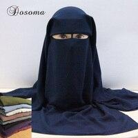 Muslim Black Face Cover Veil 3 Layers Women Hijab Burqa Niqab Arab Islamic Headscarf Wrap Abaya
