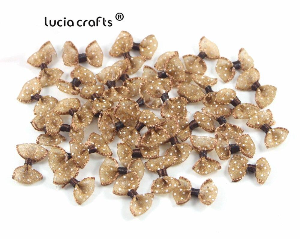 Lucia crafts, 2,5 см, 12 шт./24 шт., банты из органзы в горошек, для девочек, бутик, мини бант для волос, головной убор, сделай сам, одежда для рукоделия, B0810 - Цвет: Coffee 12pcs