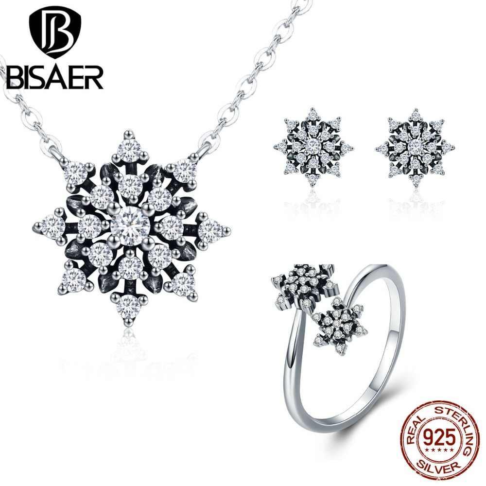 BISAER Echtem 925 Sterling Silber Klar CZ Dazzling Elegante Schneeflocke Schmuck Sets für Frauen Hochzeit Engagement Jewerly Geschenk