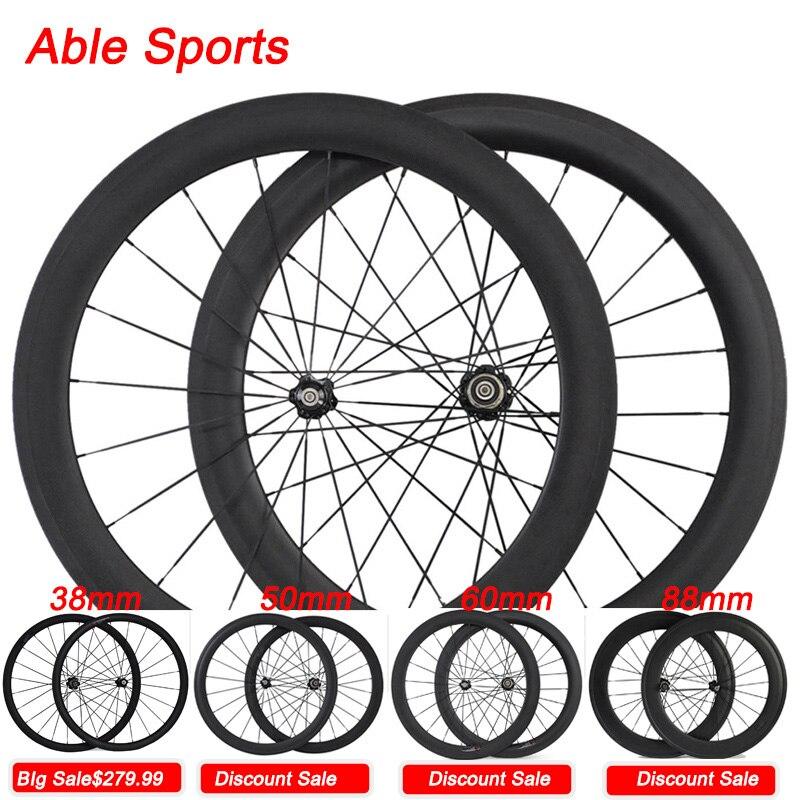 Цена за 2017 Способен Спортивные 700C углерода по велоспорту на шоссе велосипед колеса 50 мм довод U форма углерода колеса