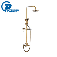 Antique Brass Bathroom Shower Faucet Dual Handles Wall Mounted With Commodity Shelf And Hangers 8 Inch